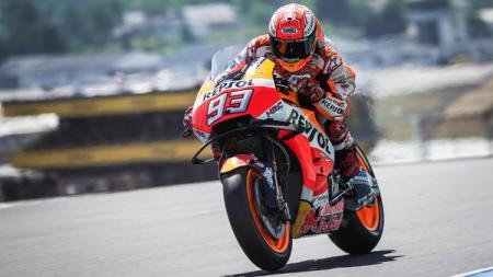 Pembalap Repsol Honda Marc Marquez dalam sesi kualifikasi MotoGP Prancis 2018. - INDOSPORT