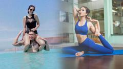 Indosport - Andrea Dian dan Ganindra Bimo, sepasang suami istri dari ranah selebritis yang kerap melakukan olahraga.