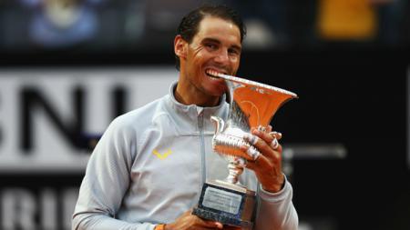Rafael Nadal selebrasi. - INDOSPORT