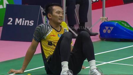 Ihsan Maulana Mustofa pasca melawan wakil Thailand di Thomas Cup 2018. - INDOSPORT