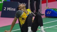 Indosport - Ihsan Maulana Mustofa pasca melawan wakil Thailand di Thomas Cup 2018.