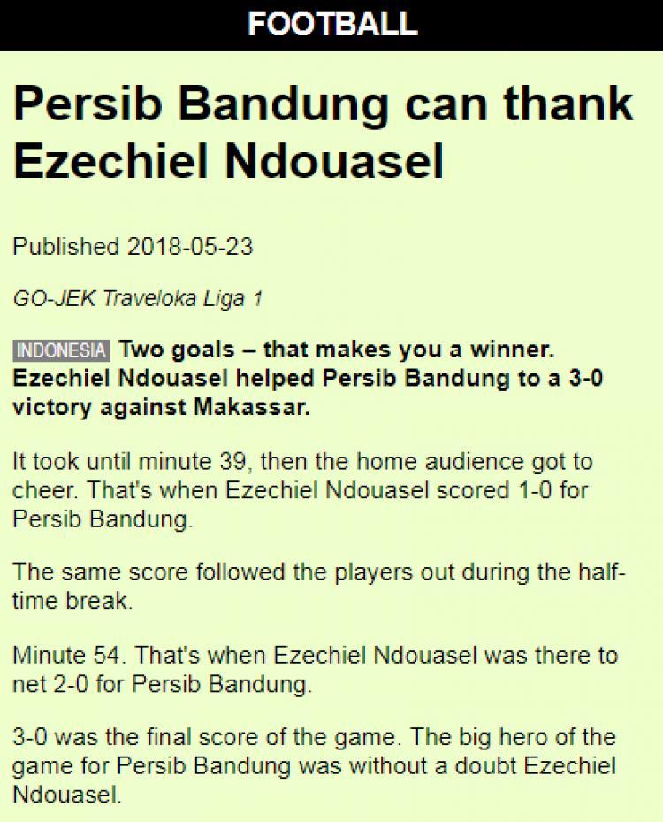 Persib Bandung disorit media asing. Copyright: Internet