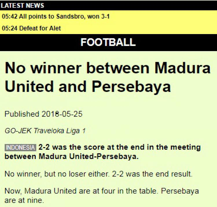 Madura United vs Persebaya. Copyright: robosport.net