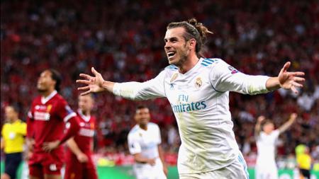 Selebrasi pemain Real Madrid, Gareth Bale. - INDOSPORT
