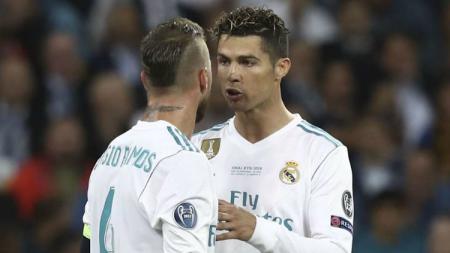 Sergio Ramos dan Cristiano Ronaldo ketika masih sama-sama membela klub sepak bola Real Madrid. - INDOSPORT