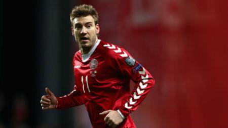 Nicklas Bendtner saat bermain untuk Timnas Denmark. - INDOSPORT