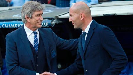 Manuel Pellegrini (kiri) saat masih menjadi pelatih Manchester City dan Zinedine Zidane (kanan) saat masih di Real Madrid. - INDOSPORT