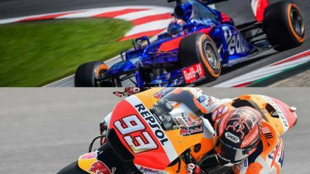 Marc Marquez saat menjajal mobil F1 (atas). - INDOSPORT