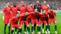 Indosport - Skuat Timnas Portugal saat laga uji coba melawan Aljazair.