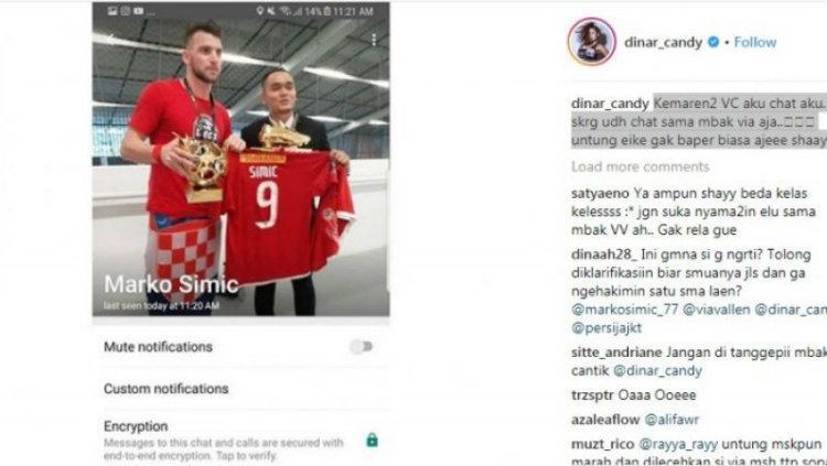 Isi tangkap gambar kala Dinar Candy pernah berkomunikasi dengan Marko Simic yang diunggah di Instagram. Copyright: Istimewa