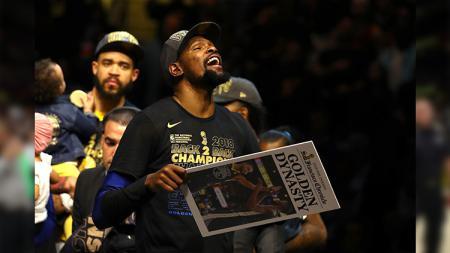 Selebrasi Kevin Durant di NBA Final 2018. - INDOSPORT