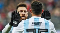 Indosport - Cristian Pavon dan Lionel Messi di Timnas Argentina