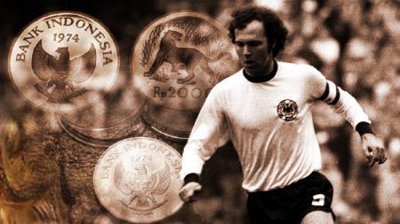 Franz Beckenbauer dan koin Indonesia Piala Dunia pada tahun 1974. - INDOSPORT