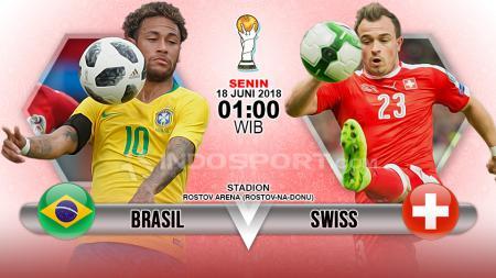 Brasil menghadapi Swiss di penyisihan Grup E Piala Dunia 2018. - INDOSPORT