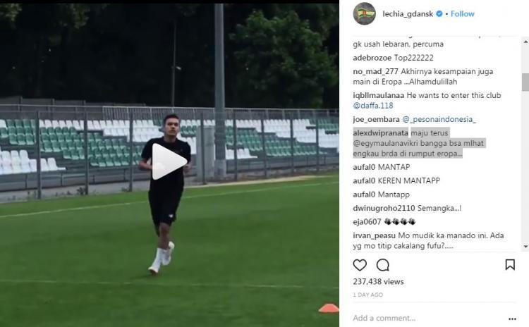 Komentar Instagram Lechia Gdansk terkait hadirnya Egy maulana Vikri Copyright: Instagram/LechiaGdansk