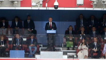 Vladimir Putin memberikan pidatonya sebelum pembukaan Piala Dunia 2018