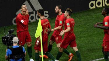 Selebrasi gol pertama Cristiano Ronaldo di laga Spanyol melawan Portugal di Piala Dunia 2018 (06/16/18). - INDOSPORT