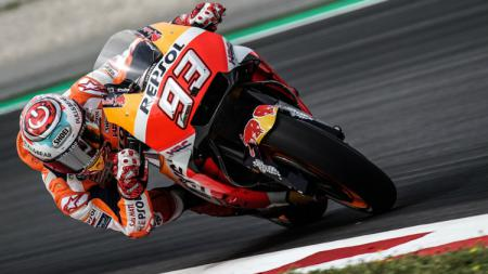 Marc Marquez dalam sesi latihan bebas MotoGP Catalunya 2018. - INDOSPORT