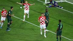 Indosport - Selebrasi pemain Kroasia setelah membobol gawang Nigeria di Piala Dunia 2018.