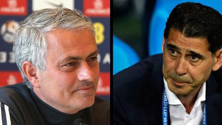Pelatih Man United, Jose Mourinho dan Fernando Hierro, pelatih Timnas Portugal. - INDOSPORT