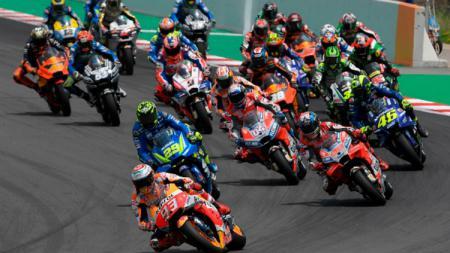 Ilustrasi: para rider sedang beraksi di ajang balapan MotoGP Catalunya 2018. - INDOSPORT