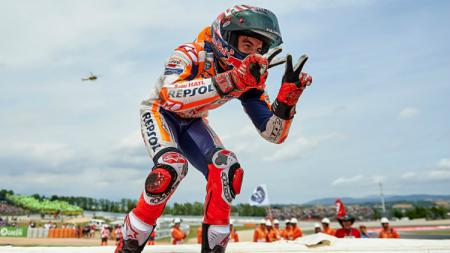 Marc Marquez finish runner up di MotoGP Catalunya 2018. - INDOSPORT