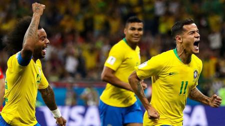 Selebrasi Philippe Coutinho usai membuka keunggulan Brasil atas Swiss di Piala Dunia 2018. - INDOSPORT