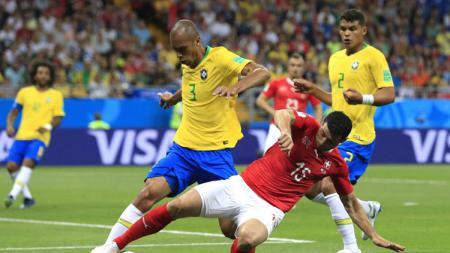 Situasi pertandingan antara Brasil vs Swiss di Piala Dunia 2018. - INDOSPORT