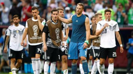 Pemain Jerman usai kalah dari Meksiko di Piala Dunia 2018.