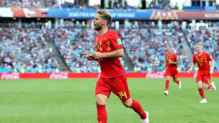 Dries Mertens merayakan golnya ke gawang Panama, Grup G Piala Dunia 2018, Fisht Stadium Sochi, Senin (18/06/18). - INDOSPORT