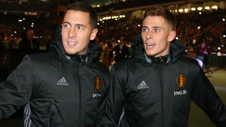 Eden Hazard dan Thorgan Hazard saat bersama-sama di skuat Timnas Belgia untuk Piala Dunia 2018. - INDOSPORT