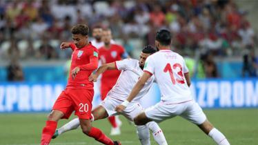 Situasi jalannya pertandingan babak pertama Tunisia vs Inggris di Piala Dunia 2018. - INDOSPORT