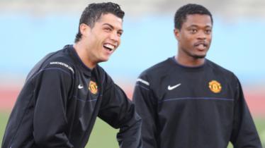 Cristiano Ronaldo dan Patrice Evra saat keduanya di Manchester United. - INDOSPORT
