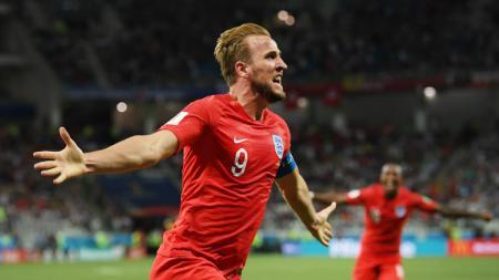 Harry Kane merayakan golnya ke gawang Tunisia dalam laga Grup G Piala Dunia 2018, Selasa (19/06/18). - INDOSPORT