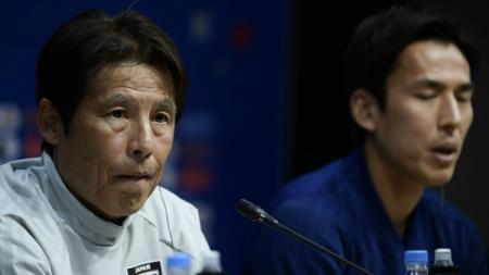 Akira Nishino, pelatih Timnas Jepang dalam konferensi pers pra laga Jepang vs Kolombia di Piala Dunia 2018.