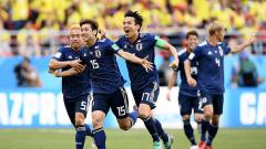 Indosport - Selebrasi gol kedua Jepang vs Kolombia.