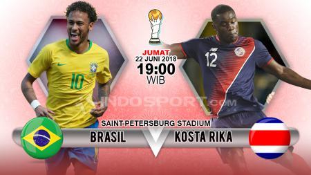 Brasil berhadapan dengan Kosta Rika di Piala Dunia 2018. - INDOSPORT