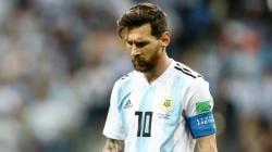 Lionel Messi saat laga Grup D Piala Dunia 2018, Argentina vs Kroasia.
