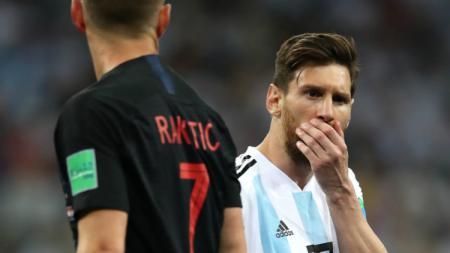 Lionel Messi usai Argentina kalah dari Kroasia di laga Grup D Piala Dunia 2018. - INDOSPORT
