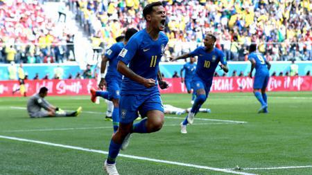 Philippe Coutinho merayakan golnya ke gawang Kosta Rika di Piala Dunia 2018 - INDOSPORT