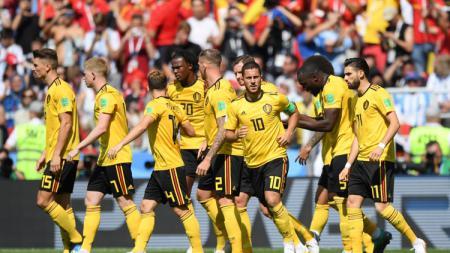 Selebrasi para pemain Timnas Belgia saat Eden Hazard mencetak gol pertama ke gawang Tunisia. - INDOSPORT