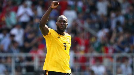 Selebrasi Romelu Lukaku atas golnya ke Tunisia - INDOSPORT