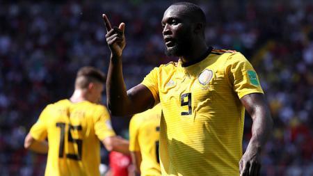 Romelu Lukaku merayakan golnya ke gawang Tunisia di Piala Dunia 2018. - INDOSPORT