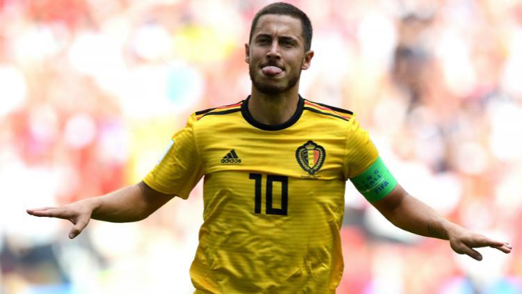 Eden Hazard saat merayakan dua golnya untuk Belgia. Copyright: Getty Images