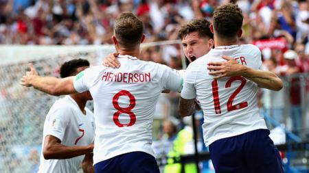 Skuat Inggris merayakan gol John Stones ke gawang Panama - INDOSPORT