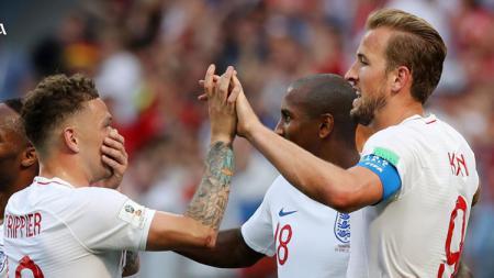 Selebrasi para pemain Inggris usai cetak gol ke gawang Panama di Piala Dunia 2018. - INDOSPORT