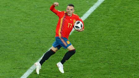 Iago Aspas usai mencetak gol ke gawang Maroko. - INDOSPORT