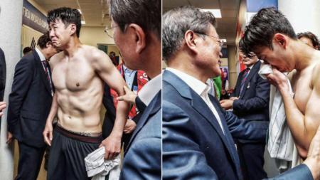 Son Heung-min menangis pasca dikalahkan Meksiko di ajang Piala Dunia 2018. - INDOSPORT