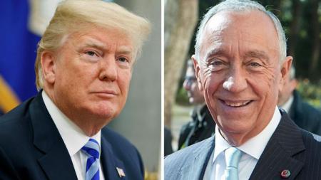 Marcelo Rebelo de Sousa bertemu dengan Donald Trump di White House, Rabu (27/06/18). - INDOSPORT