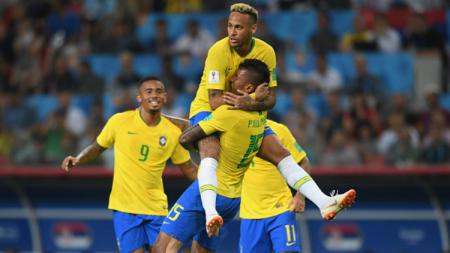 Selebrasi Brasil vs Serbia di Piala Dunia 2018. - INDOSPORT